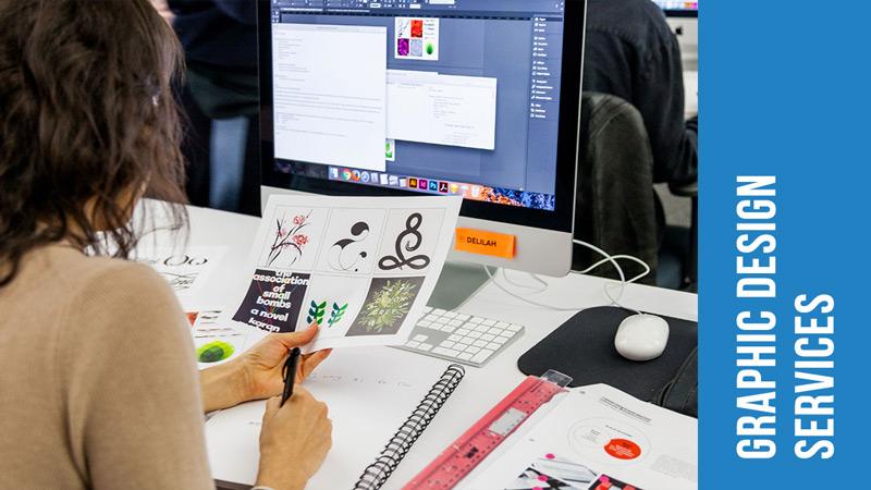 Photo of graphic designer creating graphic design services